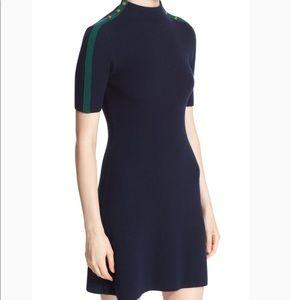 Tory Burch Sardy Dress — Navy Blue with Green